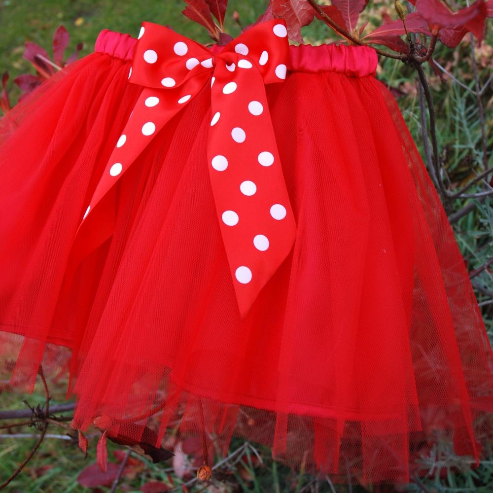 442e9990d736 Dětská červená tylová sukně s puntíkovanou mašlí