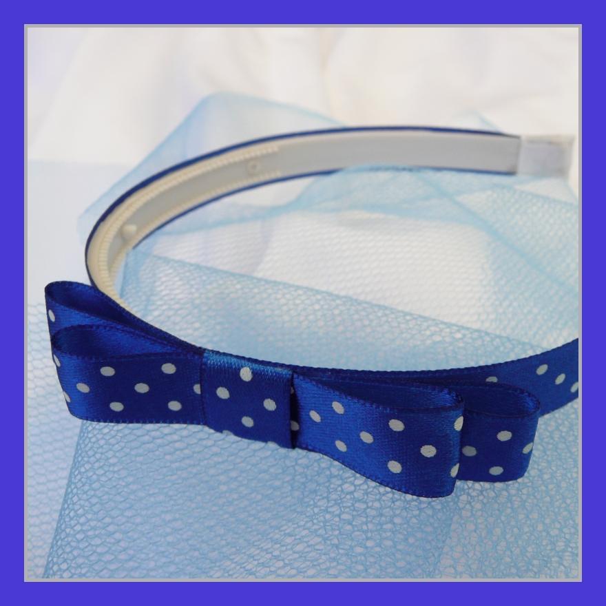 Královsky modrá puntíkovaná čelenka s mašlí  4c5d982c4a