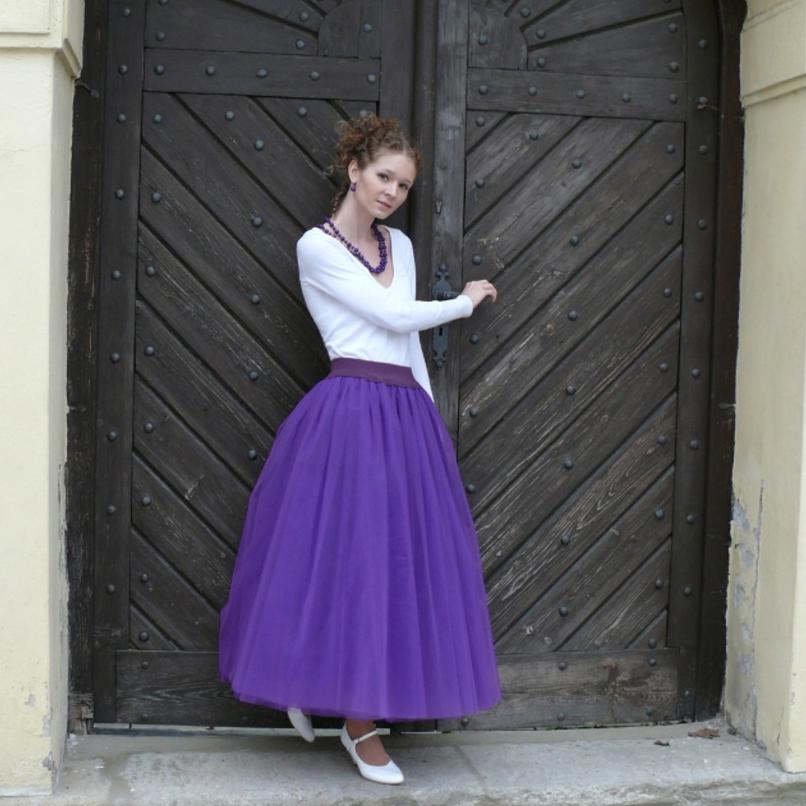 Fialová tylová sukně  288a1cb033