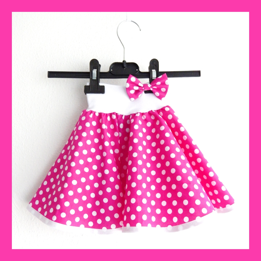 6811ba22dabe Sytě růžová puntíkovaná sukně - dětská