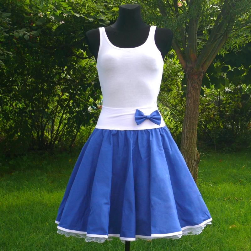 21c909df8ae5 Modrá kolová sukně