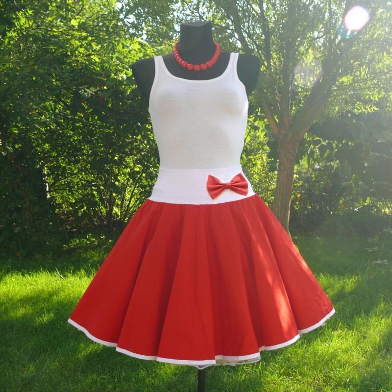 ab2857b06fed Červená kolová sukně