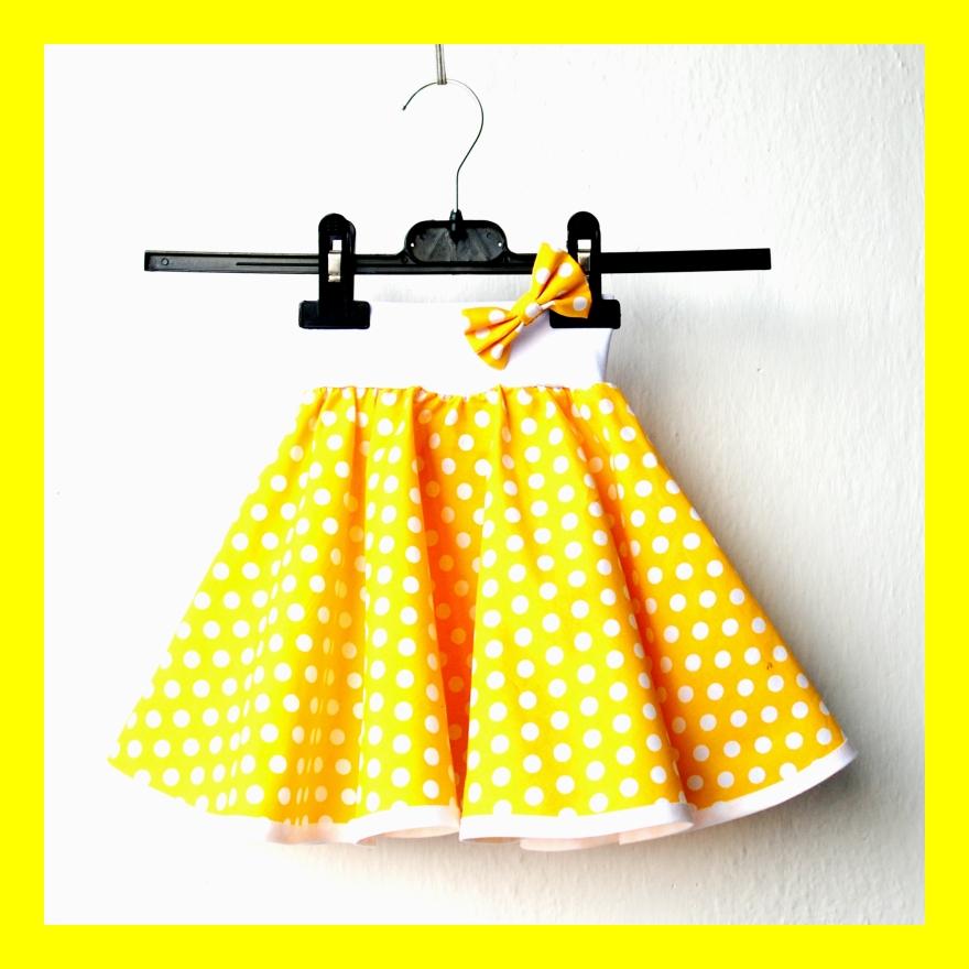 2a09e52011c8 Žlutá puntíkovaná sukně - dětská