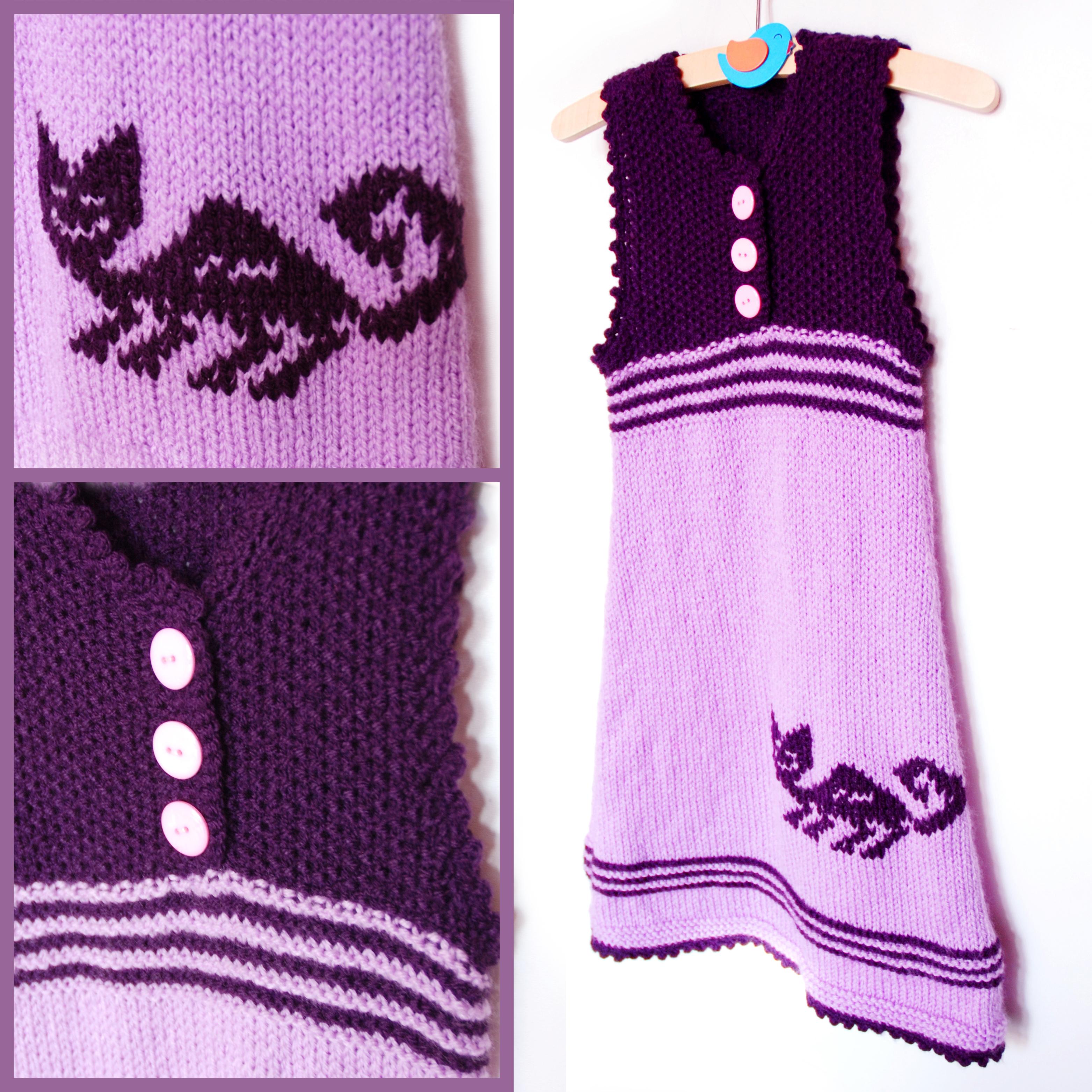 6225c13207f9 Fialové dětské šaty s kočičkou v indiánském stylu empty