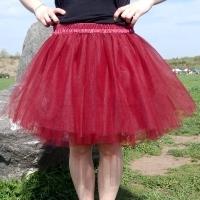 a042a42d106 Tmavě červená tylová sukně